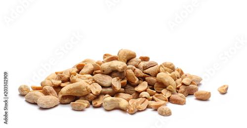 Fotografie, Obraz  Salted and marinated peanuts with cashew nuts and almonds, pile isolated on whit
