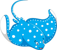 Stingray Fish Cartoon Isolated On White Background