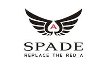 Wings Spade Ace Card Negative Space Logo Design