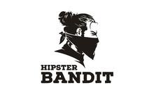 Hipster Bun Hair Bandit With Bandana Scarf Mask Illustration Logo Design