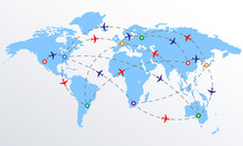 Plane Routes Over World Map Wi...