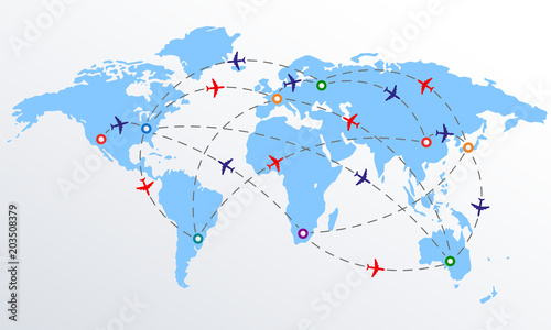 Plane routes over world map with markers or map pointers ...