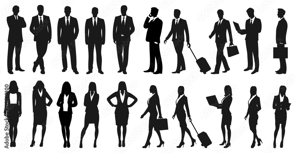 Fototapety, obrazy: Set of businesspeople silhouettes. Businessmen and businesswomen