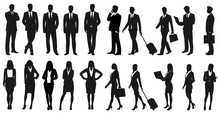 Set Of Businesspeople Silhouet...