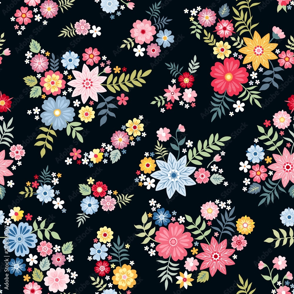 Lovely Ditsy Floral Pattern With Cute Abstract Flowers In