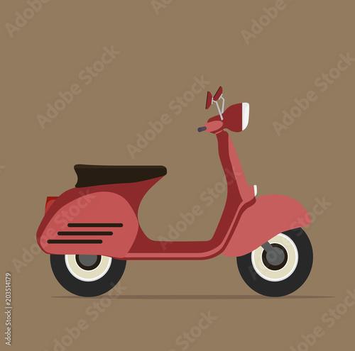 Deurstickers Fiets Cool red motorcycle Flat design