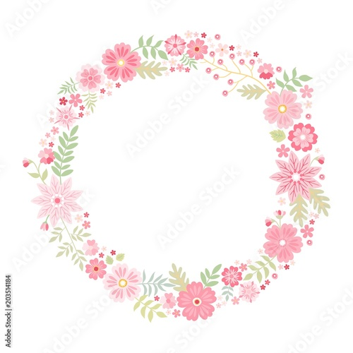 Romantic floral round frame with cute pink flowers beautiful wreath romantic floral round frame with cute pink flowers beautiful wreath isolated on white background mightylinksfo
