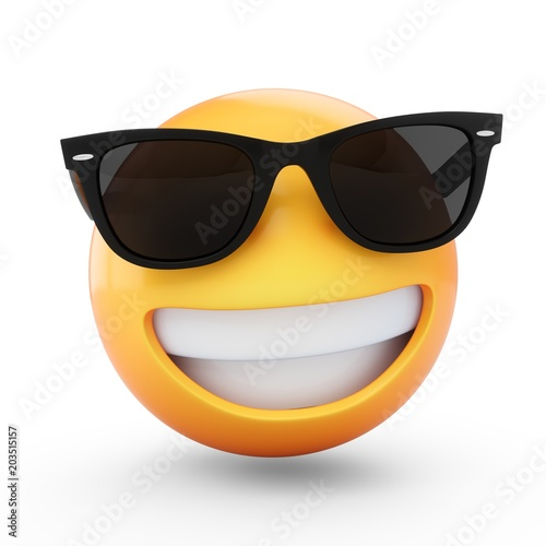 3D Rendering cool emoji with sunglass isolated on white background Canvas Print