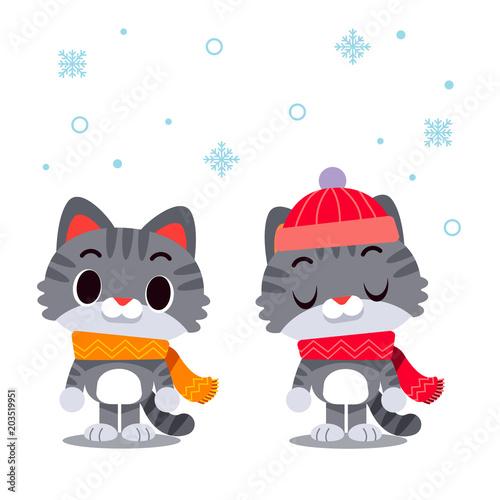 Wektorowi kotów charaktery jest ubranym szalika i zimy kapelusz odizolowywających na białym tle