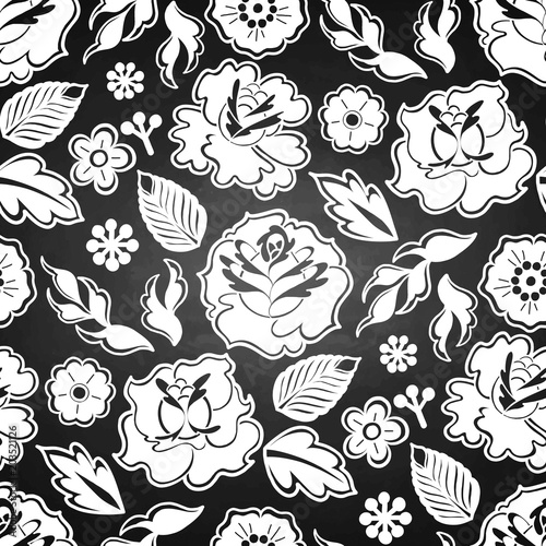 Foto op Aluminium Draw Graphic floral pattern