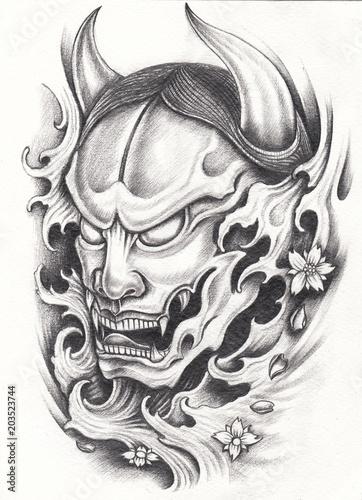Asian Tattoos Illustrations: Art Design Kabuki Japanese Tattoo. Hand Pencil Drawing On