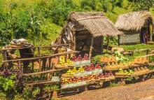 Tropical Fruit And Vegetable Stands Along The Legendary National Route 7  Near Antsirabe, Madagascar