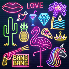 Set Of Fashion Neon Sign. Nigh...