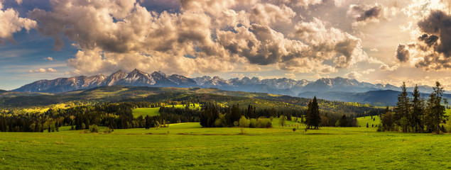Panorama of high tatra mountains in Poland