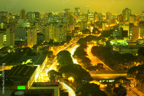 View of downtown skyline and  Avenue 23 de Maio, Sao Paulo, Brazil