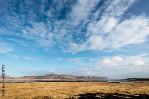 Foto op Aluminium Blauw Scenic landscape of mountains in Iceland