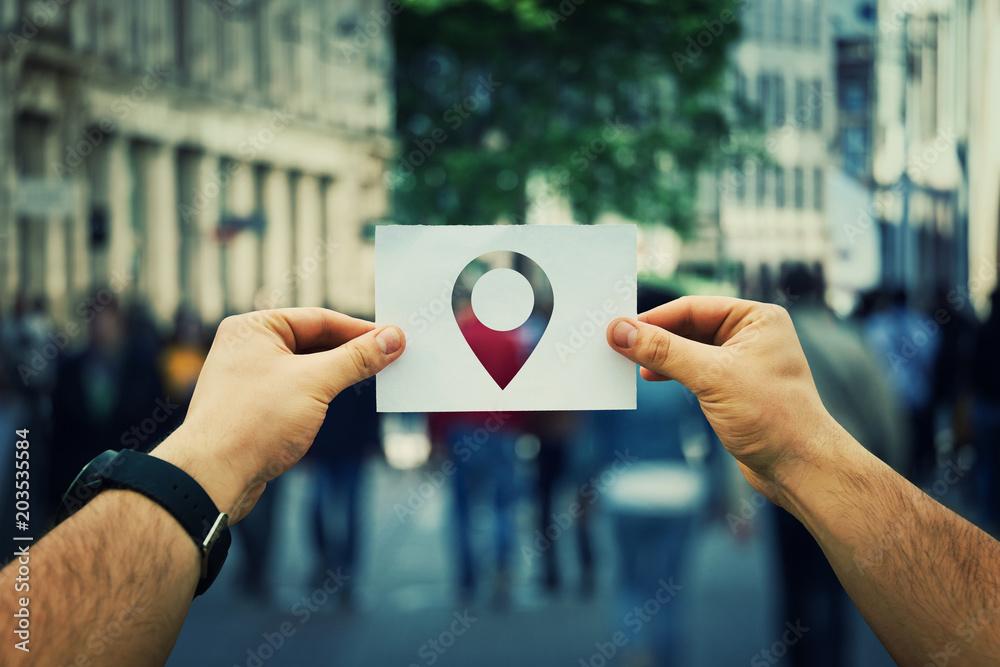 Fototapeta holding pointer icon