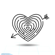 Heart Maze Arrow Heart Icon. L...