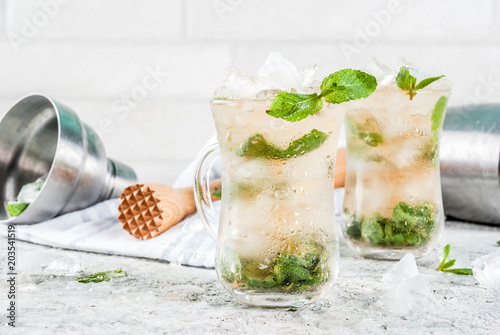 Cold summer beverage, mint julep cocktail drink, grey stone background copy spac Canvas-taulu