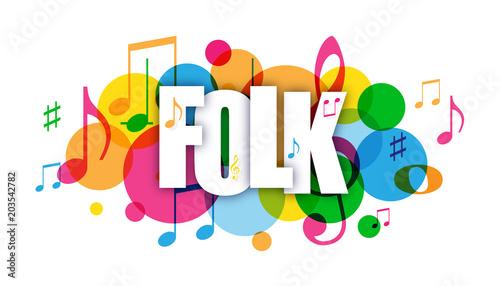 Fototapety Muzyka folk-colourful-vector-letters-icon
