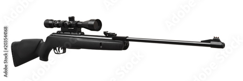 Fotografía  pneumatic rifle with an optical sight isolated on white