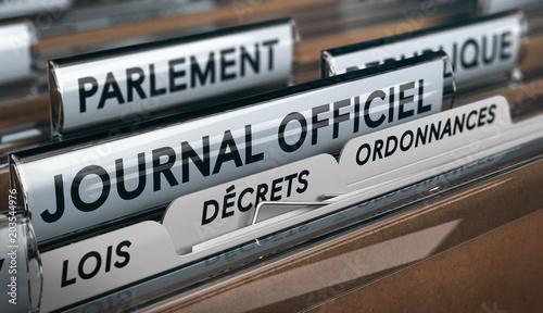 Vote des lois au parlement et publication au journal officiel Fotobehang