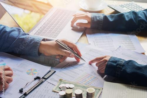 Fototapeta business team meeting working audit finance accounting report obraz