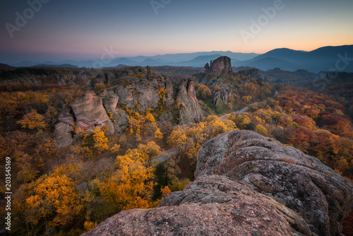 Spoed Foto op Canvas Chocoladebruin Magnificent night view of the Belogradchik rocks, Bulgaria