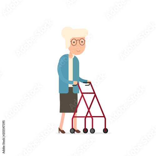 Photo  Old woman walking with rollator