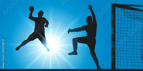 Fototapeta handball - hand - handballeur - tir - but - marquer - ballon - sport - sportif -