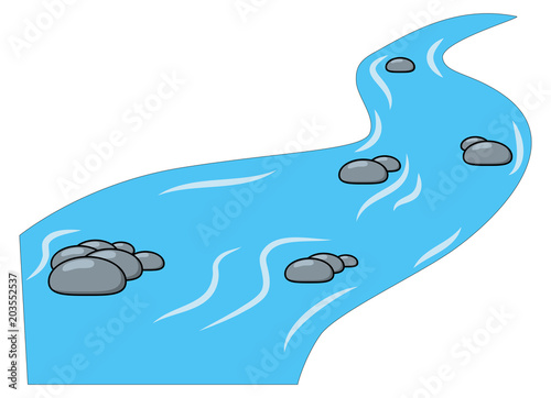 Obraz Cartoon brook, river isolated on white background - fototapety do salonu