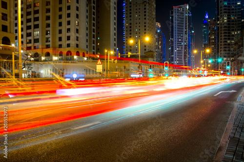 Obraz na plátně City road night scene, UAE, Dubai, Night traffic long tracers in Dubai UAE cente