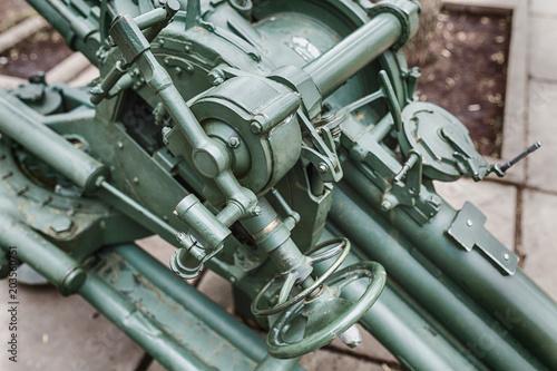 Antiaircraft gun of the Second World War as memorial in park Canvas Print