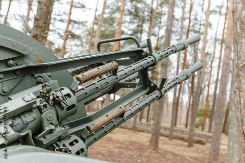 Photo Antiaircraft gun of the Second World War as memorial in park