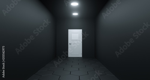 Spoed Foto op Canvas Stadion Realistic Room With Door At The End. 3D Rendering