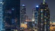 Dubai Marina at night timelapse, Glittering lights and tallest skyscrapers