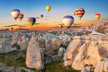 Hot Air Balloons At Sunset Ove...