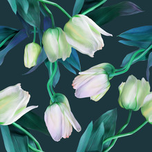 Tulips Seamless Pattern. Watercolor Illustration.
