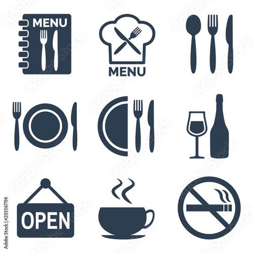 Restaurant icons set on white background.