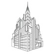 Line art outlook city, buildings, houses, street, vector illustration isolated on white background in black and white colors