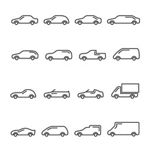 Vector Image Of Set Of Car Line Icons.