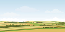 Green Hill Countryside Landscape. Vector Illustration Of Panorama Field Landscape And Cloud Sky.