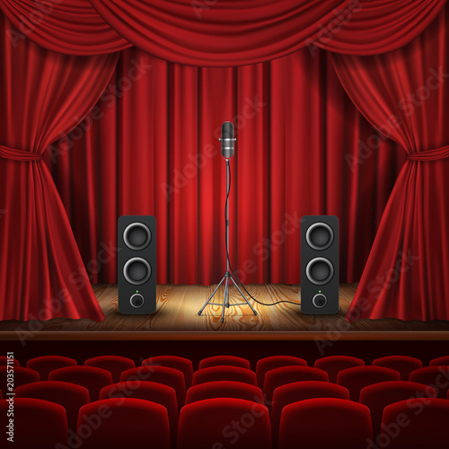 Vector Illustration With Microphone And Loudspeakers On