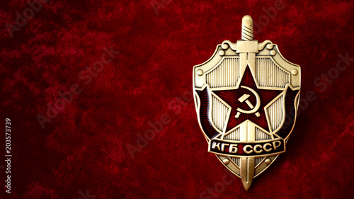 Photo Secret service, intelligence agency, and espionage concept with cold war era KGB