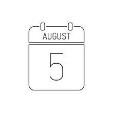 August 5 Calendar Icon Line, O...