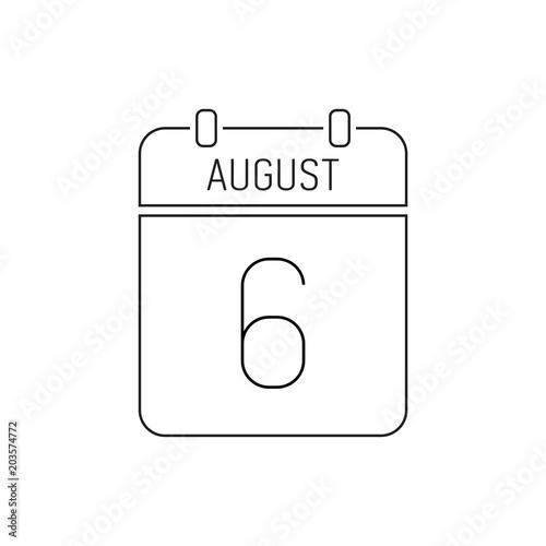 August 6 calendar icon line, outline  Deadline reminder