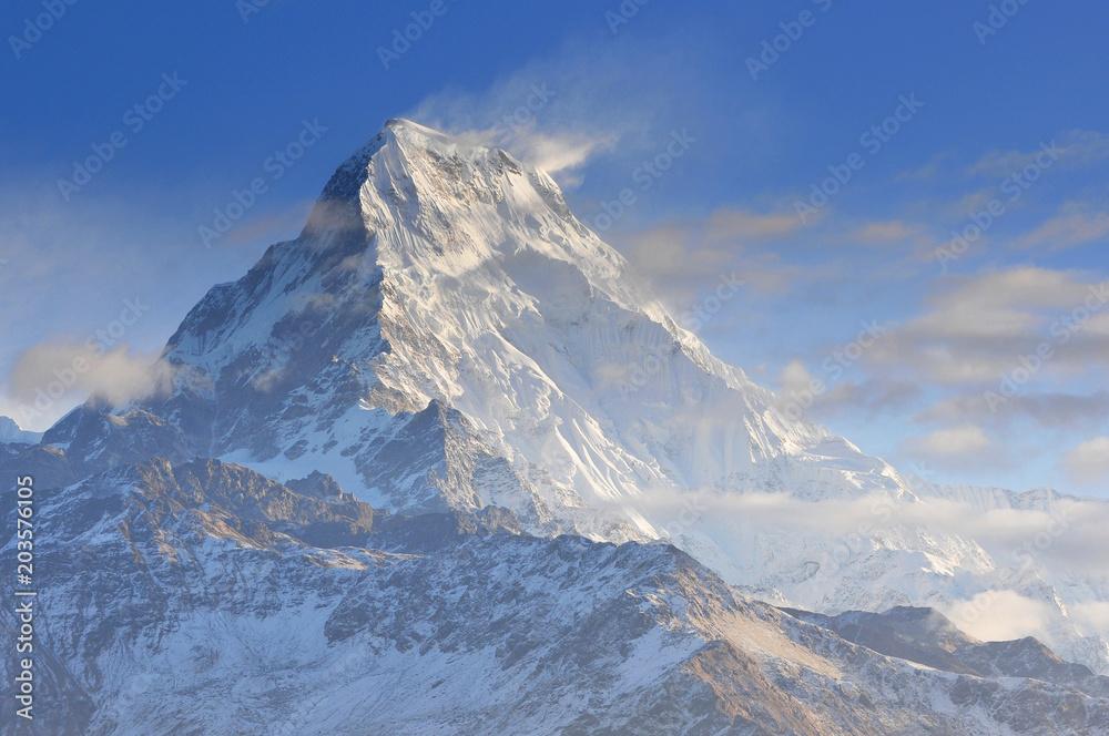 Fototapety, obrazy: Annapurna South view from Poon Hill, Ghorepani, Dhaulagiri massif, Himalaya, Nepal.