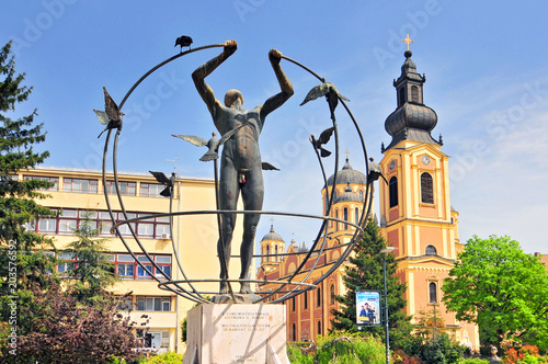 Orthodox church and multiculturalism monument in Sarajevo. Wallpaper Mural
