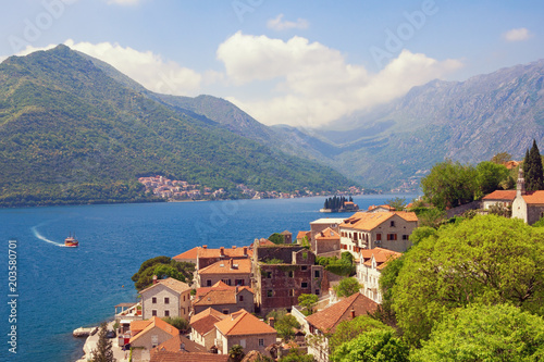 Fotobehang Blauwe hemel Summer Mediterranean landscape. Montenegro, view of Perast town. Travel, vacation concept