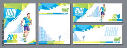 Fotografía  Vector runner marathon city skyscrapers design cover template banner corporate s